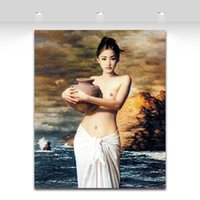 Wholesale Sexy Nude Girl Holding The Pottery Art Painting Wall Decoration Oil Painting Print on Canvas