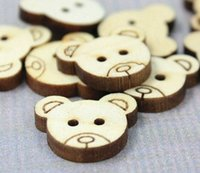 bear sew - 20 x Lovely Cartoon Bear Patterns x mm Holes Wooden Buttons for Sewing Scrapbooking Embelishments Crafts