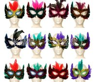backed chicken - Brand new DIY Party feather mask sexy women lady Halloween MARDI GRAS carnival colorful chicken feather Venice mask Festive Supplies gift