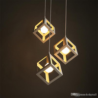 Wholesale Indoor Pendant Lighting Iron Square Shape Pendant Lamps Iron Chandelier Pendant Light Vintage Chandelier Light Vintage Pendant Lamp E27 Bulb