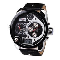 Wholesale Factory Price Multi function WEIDE Analog Dual Time Date Alarm Leather Strap Wristwatches Black Led Digital Military Watches waitingyou