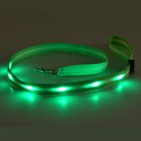 basic light switch - Light Transmitting LED Dog Leashes Circular Switch Drawstring Nylon Dog harness LED Dog Leashes Safety Pet LED Night Leashes