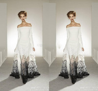 al por mayor zuhair murad blanco vestido de encaje-Exquisito 2015 vestidos de noche Zuhair Murad de hombro blanco y negro A-línea de ver a través de encaje vestido de noche de baile de fin de curso