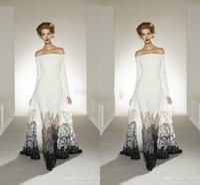 achat en gros de zuhair murad robe blanche-Robes de soirée 2011 exquis Zuhair Murad hors épaule blanc et noir A-ligne de voir à travers Dentelle Robe de soirée robe de bal