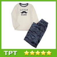 cotton fabric for t-shirt - Beard Pattern T shirt and Trousers Suit Soft Fabric Long Sleeve O Neck Cotton Children Sets for Boy T110107