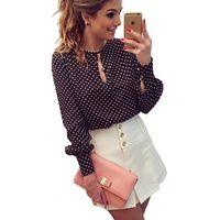Cheap Wholesale-2016 Polka Dot Vintage Chiffon Ladies Blouse Tops Long Sleeve Women Shirt Blouses Plus Size Blusas Femininas Blusa De Renda