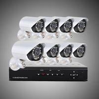 al por mayor cámaras de vigilancia la noche del día-DHL libre 8CH H. 264 de Vigilancia DVR 8PCS 480TVL Día de la Noche a la Intemperie de la Cámara de Seguridad del CCTV Sistema de H204