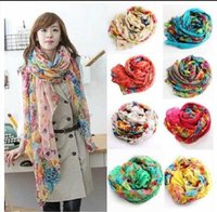 Wholesale 200PCS hot sell Fashion Scarves Women Chiffon Gradient Color Paisley Print Infinity Scarf Brand hot Style Women Long Peacesky Scarves BFH433