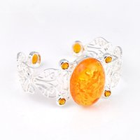 amber holiday - Luckyshine Holiday Gift Shiny Crystal Amber Brazil Citrine Gem Sterling Silver Plated Bracelet Bangles Russia Bracelets