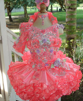 Wholesale Bling Bling Beading Pageant Glitz Dress One Sleeve Tiered Hot Pink Birthday Dresses For Girls Toddler Pageant Ball Gown Dresses