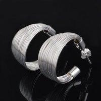 Cheap Sterling Large Hoop Earrings Silver Plate Loop Dangle Round Earring Stud Women Jeweley Wen