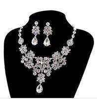 american bridal shops - Outop Silver Red Alloy Rhinestone Earrings Crystal Pendant Necklace beautiful Bridal Jewelry Set White free shopping