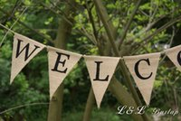Wholesale welcome burlap banner rustic welcome sign country home decor shabby chic decor country porch decorations