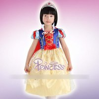 Wholesale Children Performing Clothes Girls Lovely Beautiful Snow White Tulle Short Sleeve Dance Dress Child Hot Sell Fairytale Princess clothes A5429