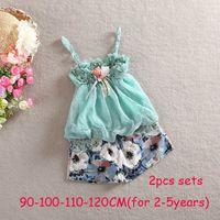 Wholesale 2014 Baby girls sets strap singlet chiffon lace flower tops rosette floral shorts in pink blue kids set via DHL