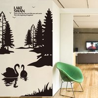 beautiful lake homes - DIY home decor Black Swan Lake wall stickers scenery beautiful decorative art decals adesivo para parede