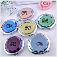 compact mirror - Engraved Cosmetic Compact Mirror Crystal Magnifying Make Up Mirror Wedding Gift for Guests