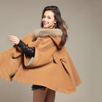 Wholesale Fashion Women Winter Warm Faux Fur Jacket Coats Batween Duffle Trim Cape Coat Office Lady Large Size Hoodie Cloak Parka