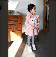 Cheap 2015 Winter Korean Style High-end Plush Cartoon Cat 2 pcs Outfits Children Modeling Threaded Hoodied Jackets and Skirt Pants 2 pcs Sets