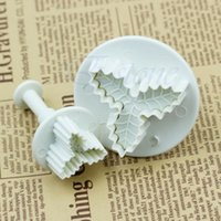 Wholesale 2 Holly Leaf Plunger Cutter New Mold Fondant Cake Decorating Kitchen Tool