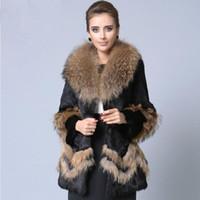 Wholesale S XXL Novelty Cuff Hem Design Coat Long Fur Rabbit Real Fur Coats Slim Jackets Female With Raccoon Dog Fur Collar PC20