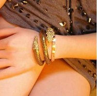 al por mayor vendimia tramo brazalete de diamantes de imitación-Serpiente del oro cristalino de la manera de señora Vintage Retro Punk Chunky curvado estiramiento del Rhinestone del brazalete pulsera de la pulsera GAA3
