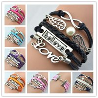 antique jewellery - Antique Charm Bracelets Love Believe Wing Infinity Braided Mix Colors Leather Bracelets Fashion Wrist bands Jewellery