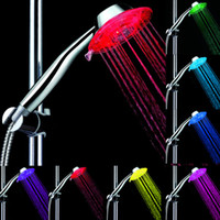 bath room faucets - Best Shower Heads LED shower heads Light Glow LED Bath Room Faucet Connector Auto Changing Colorful Led Shower LD8008 A3 without color box