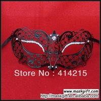 Wholesale Luxury Black Metal Finest Laser Cut With Rhinestone Unisex Masquerade Mask MB001 BK