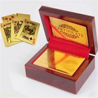 Wholesale 2014 New Delicate Playing Cards With Wooden Box Funny Entertainment Accessories Gold Plated Poker