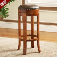 Wholesale American rustic style furnituer bar counter genuine leather rotating high stool bar chair