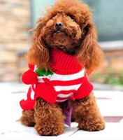 Wholesale Christmas Winter Warm Pet Dog Puppy Turtleneck Cute Ball Striped Sweater Clothes