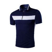 Wholesale Summer British Brief Design Men Polo Shirt Short Sleeve Zipper Pullover Men T shirts Cotton Turn over Neck Sport Polo For Men J160313