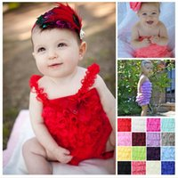 Wholesale Nine Kind Of Colors Cute Baby Girl Lace Posh Petti Ruffle Rompers TUTU Y With Shoulder Strap
