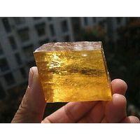 antique optical - Yellow Optical Calcite Crystal Iceland Spar transparent