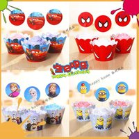 Wholesale Event Cupcake Wrappers Superman Batman Captain America CupCake Toppers Picks for Kids Birthday Party Decoration Cakecup Picks Toppers