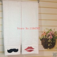 beard patterns - Patterned Face Towel Thickening g s Cotton Embroidered Lovers Towel Beard amp Kiss Towel Bathroom for Adults Valentines Gift