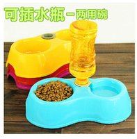 Cheap double bowl Dog Feeding and Watering Supplies bear designer water food bowl eco-friendly dog feeder automatic pet feeder
