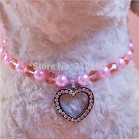 beaded dog collar - New Senior Dog Necklace Heart Love Rhinstone Tag Pendant Beaded Pet Jewelry Collar For Cat Puppies Animals Chihuahua Yorkshire