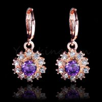 fashion jewelry dropship - Dropship K Rose Gold Filled Fashion Design Cubic Zircon Leisure sports Lady Women Earring Dangler Jewelry CZ0142
