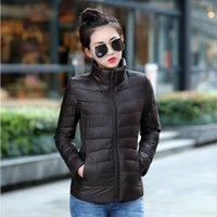 Wholesale 2016 New Women Autumn Winter Outdoor Travel Clothing Down Coat White Duck Jackets Ladies Stand Collar Zipper Breathable S XL