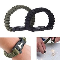 Wholesale Outdoor Camping Men Self Rescue Paracord Parachute Cord Emergency Survival Bracelet Rope Kit with Flint Whistle Scraper Buckle