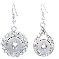 Cheap Noosa Chunk Button Snap Crystal Rhinestone Flower Water-drop Alloy Earrings Mixed styles Women DIY Jewelry studs Button Dangles 12mm