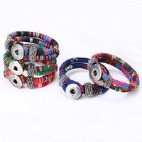 2016 Nueva moda de algodón del cordón de la pulsera de plata tibetana Snap joyería pulsera Botón para la Mujer B380 Regalo