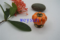 Wholesale Orange Pumpkin Knobs Ceramic Door Kitchen Cabinet Cupboard Handles Pull Drawer mm
