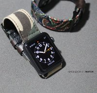 Wholesale Camouflage Leopard Point dot Arabesquitic Series Strap Fabric Leather Watchband For Apple Watch mm mm With Strap Adapter Connector