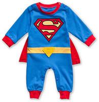 Wholesale New fashion kids boys clothes jumpsuit cartoon cotton batman baby boy rompers cute superman baby boys girls romper baby clothing Sets