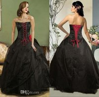 ball gowns suppliers - Princess Ball Gown Wedding Dresses Strapless Bodice Corset Lace up Bridal Gowns Sexy Black Gothic Wedding Dresses China Supplier Free LA