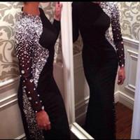 al por mayor jerseys prom vestidos largos-Nuevos vestidos de noche de la sirena de Jersey del negro de las mangas largas atractivas 2017 rebordearon los vestidos del baile de fin de curso de la longitud del piso de los cristales