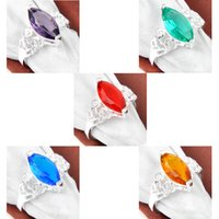 amethyst clusters - 10pcs Mix Color Holiday Jewelry Gift Party Jewelry Newest Amethyst Topaz Quartz Gems Sterling Silver Ring USA Size